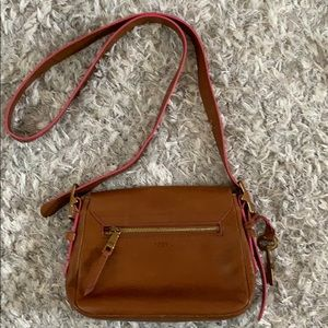 Fossil cross body w/ adjustable strap real leather